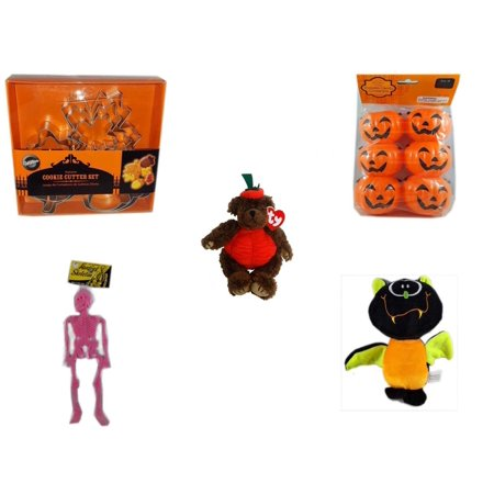 Halloween Fun Gift Bundle [5 Piece] - Wilton Autumn 8-Piece Cookie Cutter Set - Party Favors Pumpkin Candy Containers 6 Count - Ty Attic Treasures