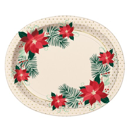 Red & Gold Poinsettia Christmas Oval Paper Plates, 12.25 in, Gold Foil, 8ct