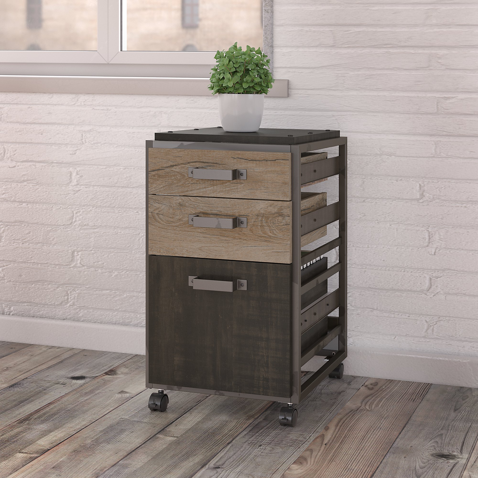 Bush Furniture Refinery 3 Drawer Mobile File Cabinet In
