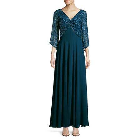 Petite Beaded Quarter-Sleeve Gown (Tadashi Shoji Gown Three Quarter Sleeve Lace Belted)