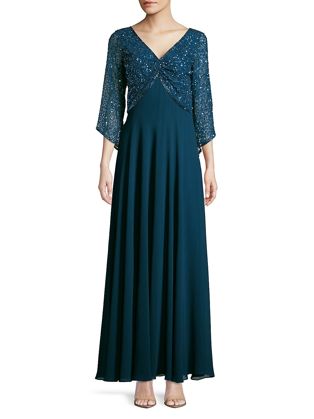 Petite Beaded Quarter-Sleeve Gown