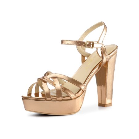 ad005f1ffa9a Unique Bargains - Women s Slingback Metallic Block Heel Platform Strappy  Sandals Rose Gold (Size 6) - Walmart.com