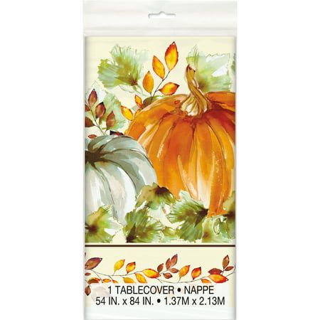 (2 pack) Watercolor Pumpkins Fall Plastic Tablecloth, 84 x 54 in, 1ct](Raiders Pumpkin)