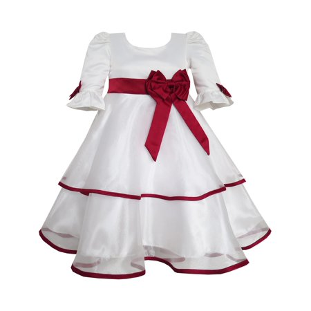 Sunny Fashion Girls Dress Red Rose Bow Tie Lace Formal Party Long