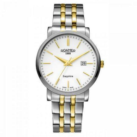 Roamer Men's Quartz Analog Display Silver Case White Dial Two Tone Gold Bracelet 709856472570