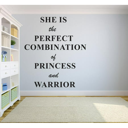Halloween Princess Quotes (She Is The Perfect Combination Of Princess & Warrior Quote Baby Girl Nursery Room Decor Custom Wall Decal Vinyl Sticker Art 12 Inches X 18)