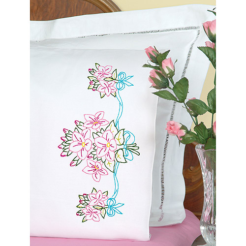 Stamped Pillowcases with White Perle Edge, 2pk, Star Flower Bouquet