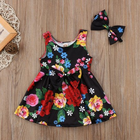 Kid Baby Girl Sister Matching Clothes Princess Floral Party Prom Bowknot Dress - image 1 of 5