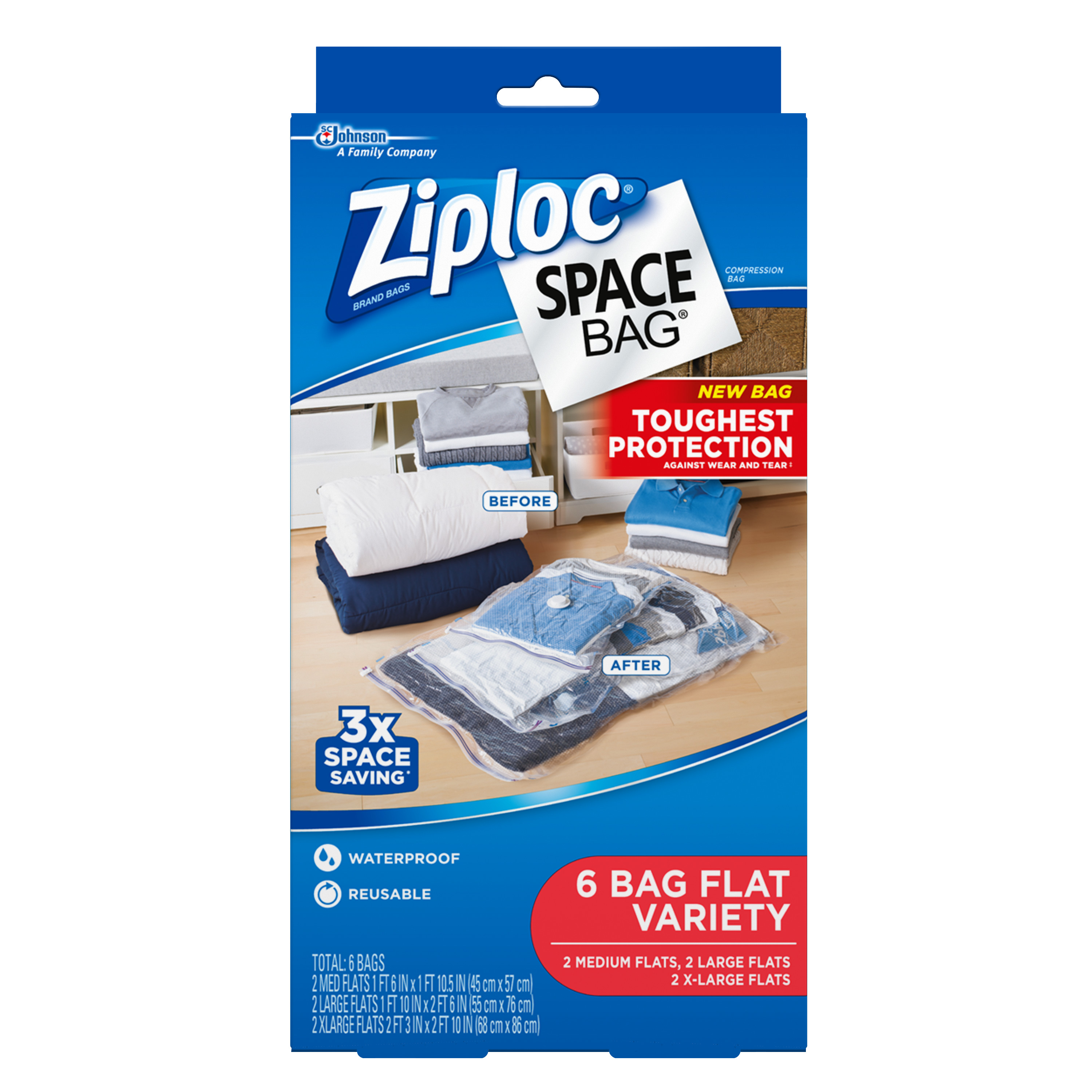 Ziploc Space Bags 6 count Flat Bags: 2 Medium, 2 Large, 2 Extra Large
