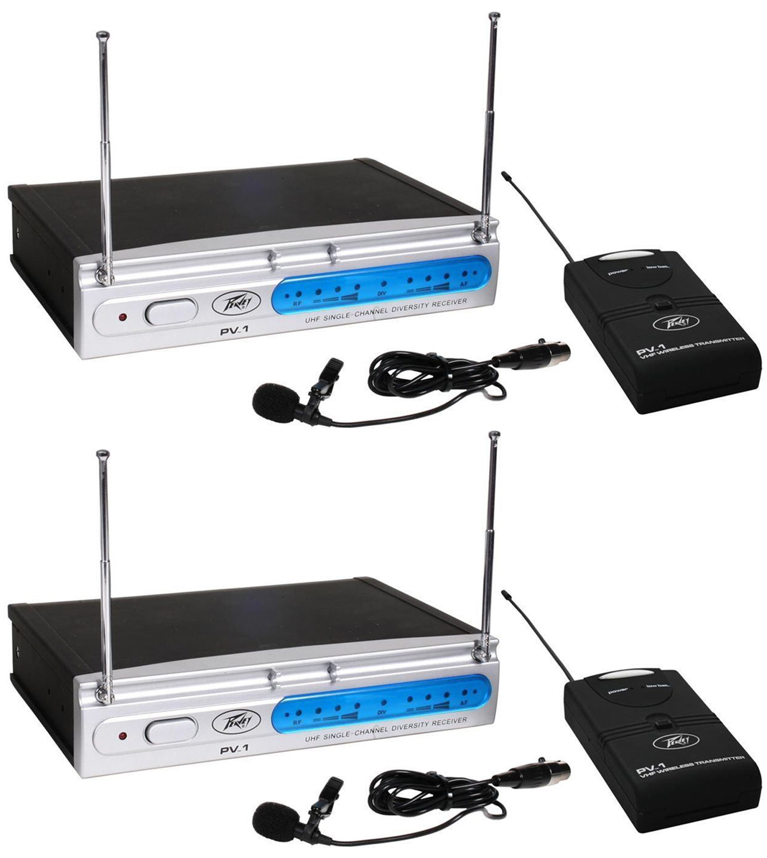(2) Peavey PV-1 U1 BL 906Mhz UHF Wireless Lavalier Microphone Systems by Peavey