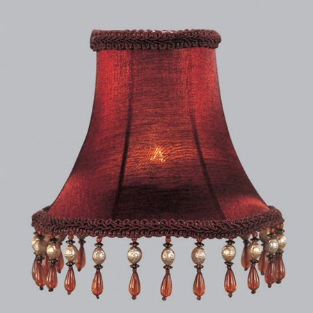 Livex S158 Silk Bell Clip Chandelier Shade with Amber Beads in