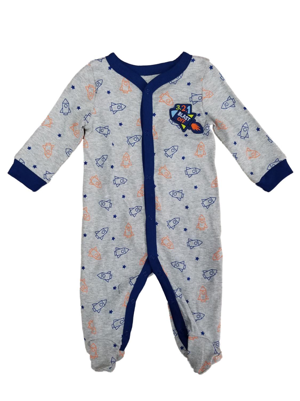 Infant Boys Gray Blast Off Space Ship Rocket Sleep & Play Pajama Sleeper
