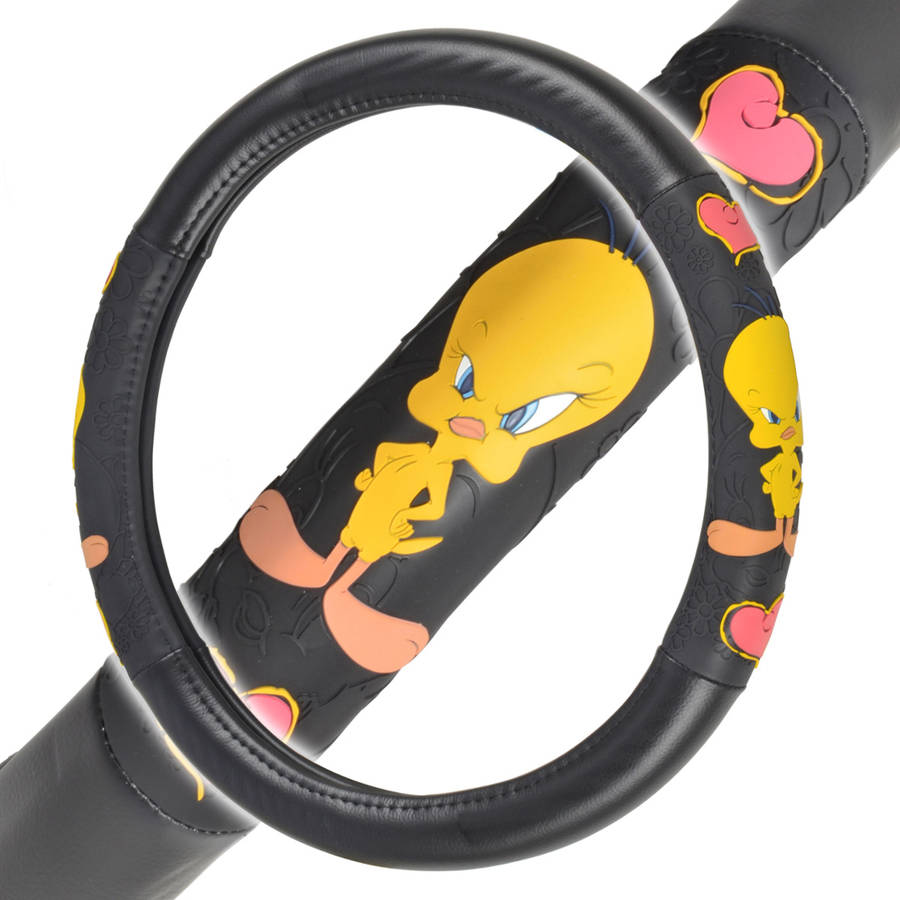 "Twety Bird Steering Wheel Cover for Car, Comfort Grip Character Accessories, Standard Size 14.5""-15.5"""