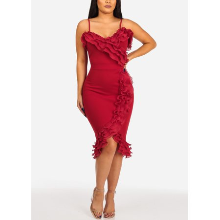 Womens Juniors Women's Junior Ladies Club Wear Night Out Sexy Off Shoulder Ruffle Detail Solid Red Crop Top and Pencil Midi Skirt SET OF TWO (Matching Crop Top And Pencil Skirt Set)