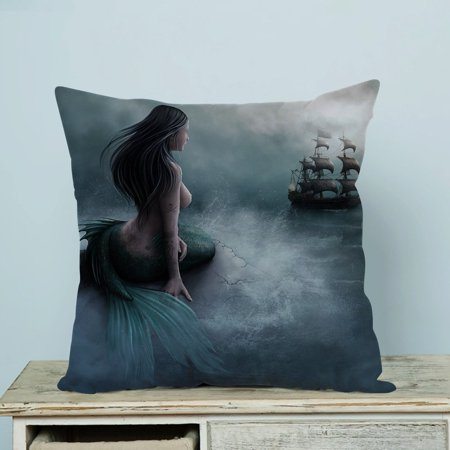 GCKG Mermaid and the Sailing Ship Pillow Case Pillow Cover Pillow Protector Two Sides 18 x 18 Inches ()