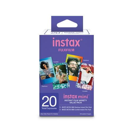 Fujifilm Instax Mini Film 20 count Value Pack (1 pack Instax Rainblow Film and 1 pack Instax Confetti)