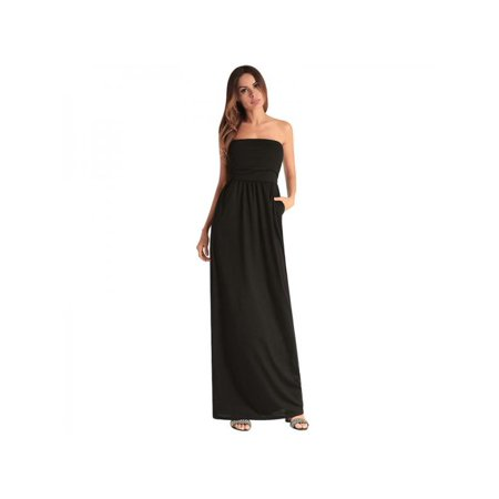 Women's Strapless Maxi Dress with Pocket Casual Long Tube Dresses for Evening Party Casual Strapless Dresses