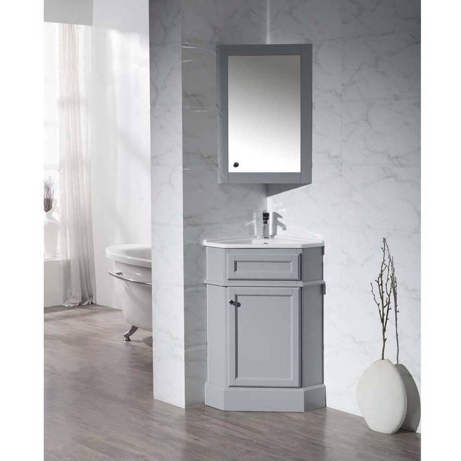 """Stufurhome Hampton Grey 27"""" Corner Bathroom Vanity with Medicine Cabinet"""