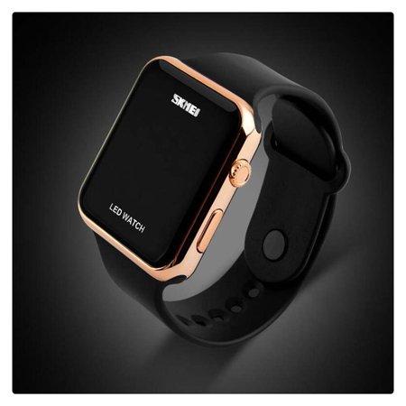 Fashion Big Dial Wristwatch for Men Women, LED Digital Watch with Silicone Strap