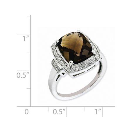 Sterling Silver Rhodium Diamond & Checker-Cut Smoky Quartz Ring - image 1 of 2