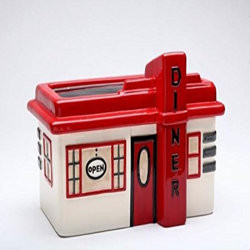 10.25 Inch Road Trip Theme Red White Retro Roadside Diner Cookie Jar by Appletree Design inc