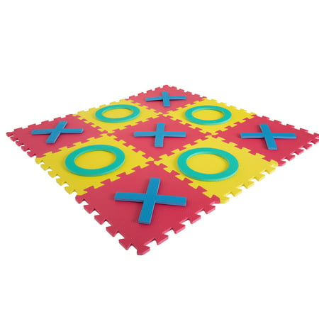 Giant Classic Tic Tac Toe Game – Oversized Interlocking Colorful EVA Foam Squares with Jumbo X and O Pieces for Indoor and Outdoor Play by Hey! Play! for $<!---->