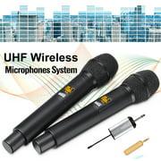 Dual Handheld Wireless Dynamic Microphones for Karaoke Singing Speech ,2 Wireless Microphone System,25 Channels UHF Wireless Microphone System