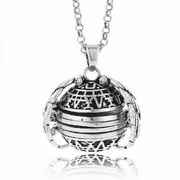 4 Picture Photo Ball Locket Necklace for Mothers Grandmothers Handmade Antique Silver