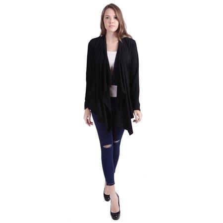 Cotton Clothing Hand Knit Sweaters - HDE Women's Open Front Cardigan Sweater Long Sleeve Waterfall Drape Knit Wrap
