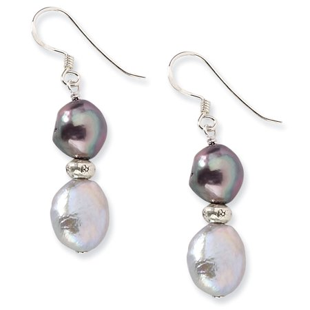 925 Sterling Silver Off Round Form Chocolate and Peacock Freshwater Cultured Pearl Dangle Earrings