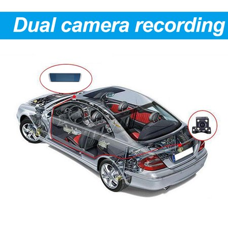 7 inch 1080P Car SUV DVR Dual Lens 2.5D Mirror Touch Screen G-Sensor Dash Camcorder - image 9 of 10