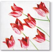 Red Tulips - Decorative Floral Lunch Paper Napkins 100pcs - Perfect for Decoupage, Party, Birthday, Special Occasions, Weddings