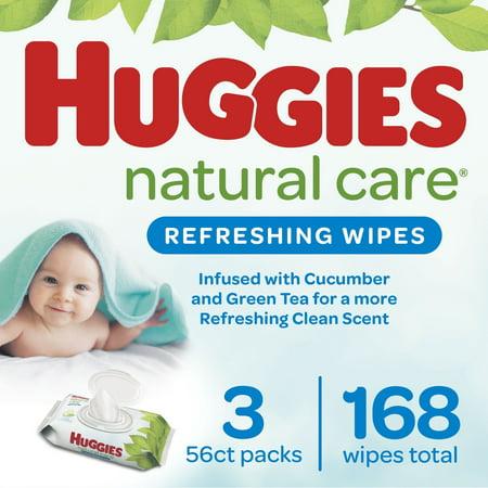 Huggies Natural Care Refreshing Baby Wipes, 3 Flip-Top Packs (168 Wipes Total)