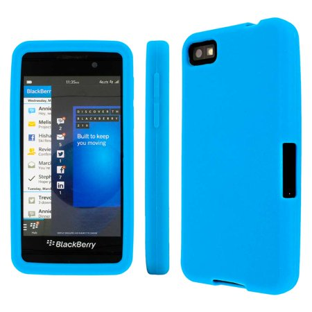 Blackberry Z10 Case, MPERO Collection Flexible Silicone Skin Light Blue Case for BlackBerry (Blackberry Z10 Silicone Skin)