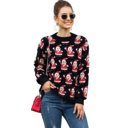 HIMONE Women Cute Ugly Christmas Sweater Xmas Retro Pullover Jumper Tops Ladies Thicken Vintage Santa Winter Warm Long Sleeve Loose Casual Knitwear Chunky Knit Tops Shirt Size S-XL ()