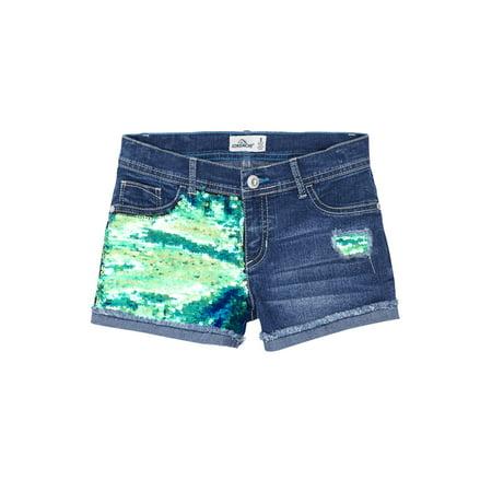 Cheap Sequin Shorts (Patchwork Roll Hem Denim Short (Little Girls & Big)