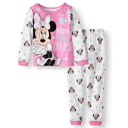 Minnie Mouse Cotton Tight Fit Pajamas, 2-piece Set (Toddler Girls) (Minnie Mouse Personalized Banner)