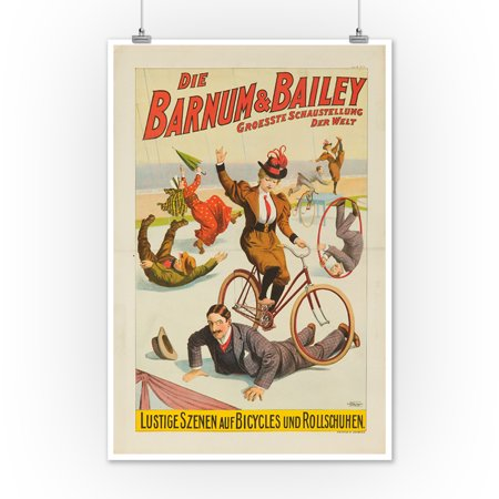 Barnum & Bailey - Lustige Szenen auf Bicycles Vintage Poster USA c. 1900 (12x18 Art Print, Wall Decor Travel Poster)