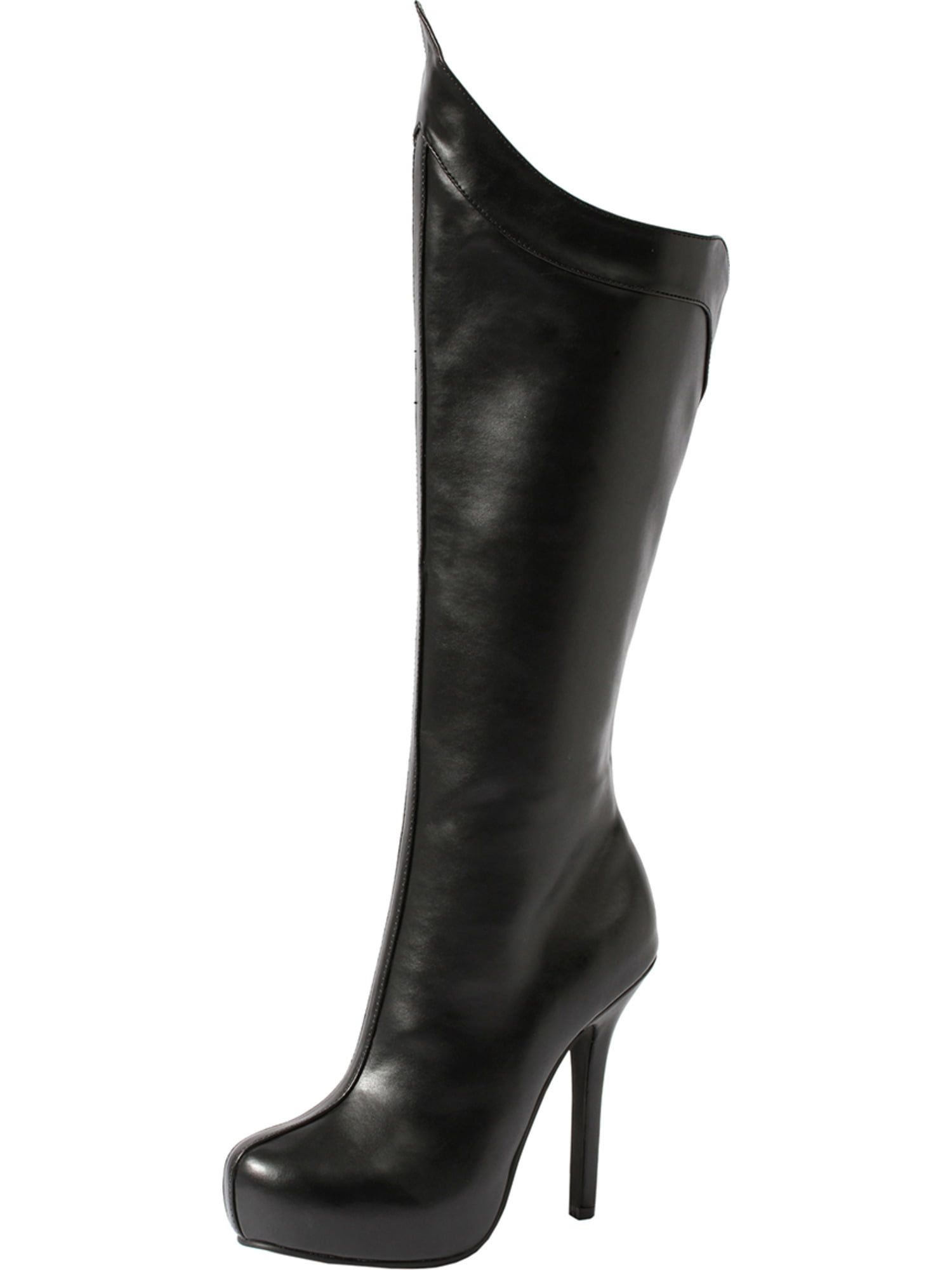 Matte Black High with Heel Knee High Boots with High Peaked Hemline and 5.5 Inch Heels 247480