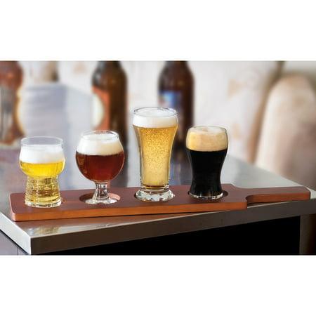 Libbey Craft Brews Beer Tasting Glasses with Wood Carrier, Set of