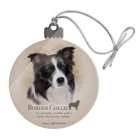 Border Collie Dog Breed Acrylic Christmas Tree Holiday Ornament ()