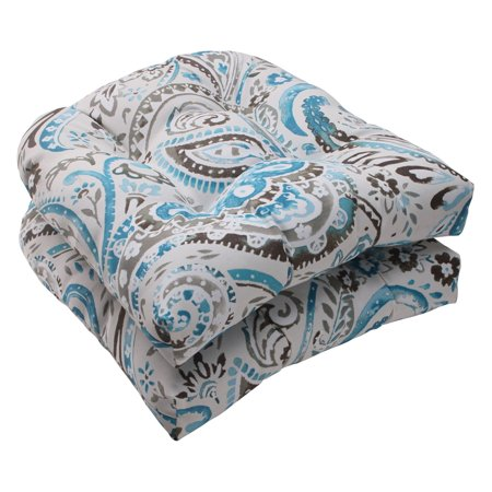 Pillow Perfect Vermilya Tidepool Wicker Chair Seat Cushion - Set of 2