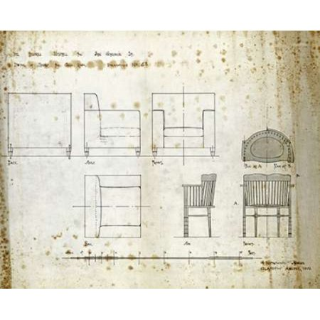 Designs For An Upholstered Chair 1909 Stretched Canvas - Charles Rennie Mackintosh (10 x 12)