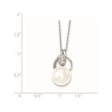 Argent 925 11-12mm blanc perle FW CZ Collier Cultured - image 1 de 2