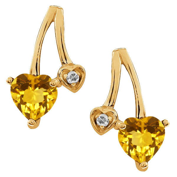 0.93 Ct Heart Shape Yellow Citrine and White Topaz 14k Yellow Gold Earrings