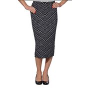 Matty M Ladies' Midi Skirt Pull-on Style, Fully Lined, Knee Length (Small, Black & White)