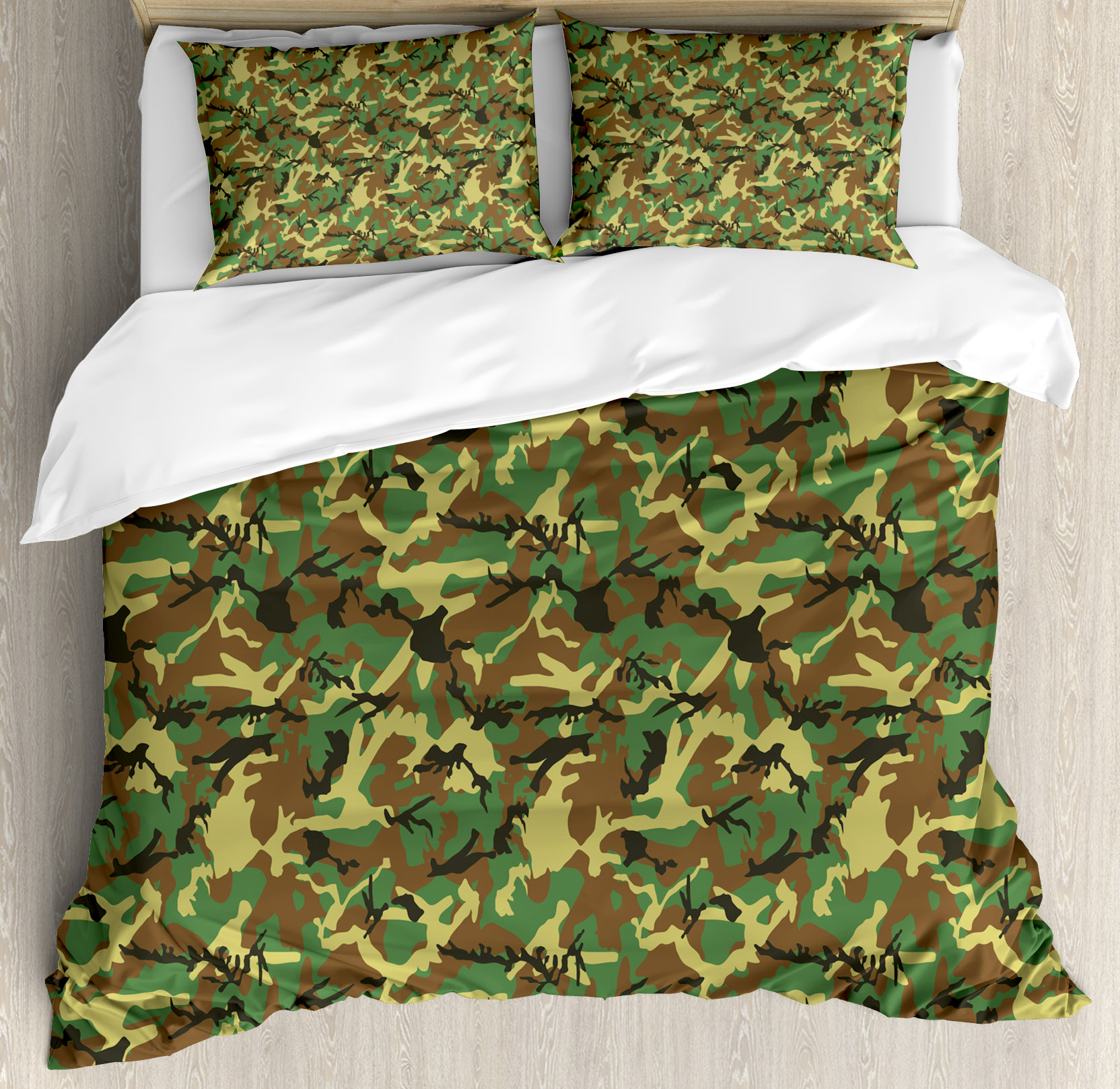 Camo King Size Duvet Cover Set, Woodland Camouflage Patte...