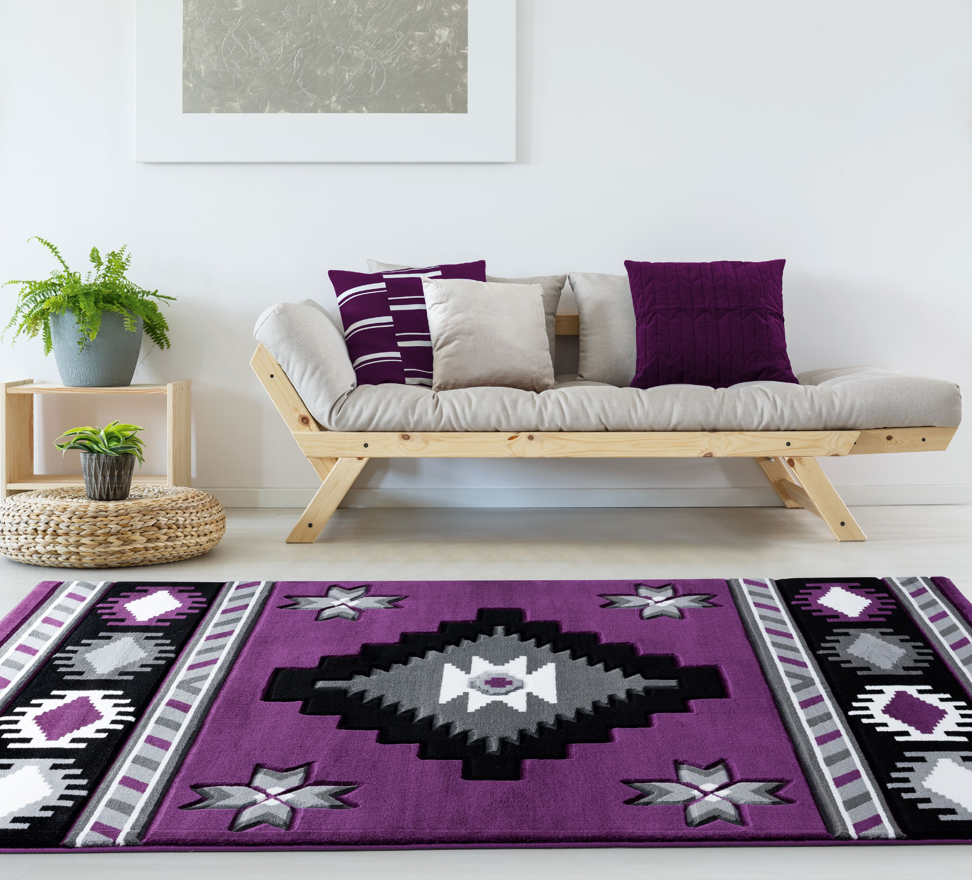 United Weavers Drachma Volos Southwestern Plum Woven Olefin/Polypropylene Area Rug or Runner