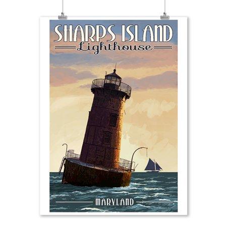 Maryland Lighthouses - Maryland - Sharps Island Lighthouse - Lantern Press Artwork (9x12 Art Print, Wall Decor Travel Poster)
