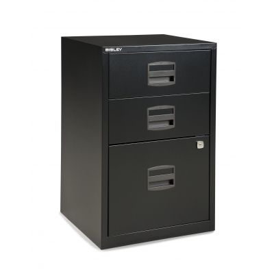 Bisley Three Drawer Steel Home Filing Cabinet, Black BDSFILE3BK by Bindertek